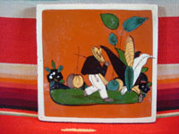 Mexican vintage pottery and folk art, a tile with terra cotta background and a scene of a Mexican campesino carrying large jarros or jugs, Tlaquepaque, c. 1940's. Main photo of the front of the entire tile.