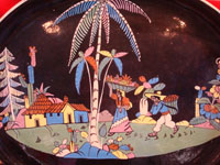 Mexican vintage pottery and folk art, a wonderful oval blackware charger with handles, Tlaquepaque, Jalisco, c. 1920-30's. This is an incredible piece of vintage Mexican pottery and a true treasure for the discerning collector! Closeup photo of the main scene.