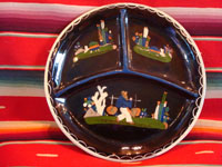 Mexican vintage pottery and folk art, a blackware plate with a great scene of a campesino carrying water and two endearing armadillos, Tlaquepaque, Jalisco, c. 1930's. This plate resembles the blackware plate above (CC-14) and is probably by the same artist.  Main photo.