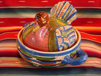 Mexican vintage pottery and folk art, a uniquely large turkey casserole with lid, Tlaquepaque, Jalisco, c. 1940's. The painted decorations on the turkey and especially on the wings are very well done! Main photo.