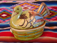 Mexican vintage pottery and ceramics and Mexican vintage folk-art, a lidded casserole in the form of a lovely green, nesting turkey, Tlaquepaque, c. 1940's. The green glaze and complimentary colors of the turkey's wings and feathers are very unique and wonderful. Main photo of the Tlaquepaque turkey casserole.