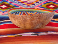 Mexican vintage folk-art, a beautiful beaded Huichol gourd, c. 1950. A side-view of the Huichol beaded gourd.
