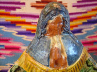 Mexican vintage pottery and ceramics and Mexican vintage devotional or religious art, a lovely pottery Madonna, Nuestra Senora de la Salud (Our Lady of Good Health) from Michoacan, c. 1950's. Closeup photo of the pottery Madonna's face.
