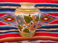 Mexican vintage pottery and ceramics, a beautiful pottery vase with lovely floral decorations, Tlaquepaque, Jalisco, c. 1930's. Main photo of the Tlaquepaque or Tonala pottery vase.