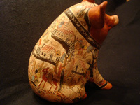 Mexican vintage folk-art, and Mexican vintage pottery and ceramics, a wonderful piggy-bank with exquisite artwork and a petatillo background (a very fine hatch-work pattern, resembling a Mexican straw-woven mat or petate, in Spanish), Tonala or Tlaquepaque, Jalisco, c. 2004. Another view of the pig.