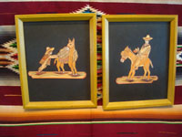 Mexican vintage straw-art (popote art or popotillo), and Mexican vintage folk-art, a pair of popote art pictures with wooden frames, depicting wonderful scenes of Mexican campesinos with their trusty burros, c. 1940-50's.  Main photo of the popote art pictures.