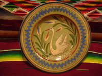 Mexican vintage pottery and ceramics, a charger with a pale-green background, and very graceful artwork featuring a lovely swan, Tonala or Tlaquepaque, Jalisco, c. 1940's. Main photo of the charger.