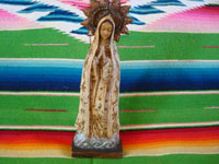 Mexican vintage devotional art, and Mexican vintage wood-carving, a stunning wood-carving depicting Our Lady of Fatima, by the very famous Cortez family of Mexico City, c. 1940's. Main photo.