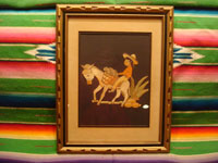 Mexican vintage straw-art (popote art or popotillo), a wonderful popote art scene of a boy riding his trusty burro, laden with goods, to the local market, c. 1940's. This piece of Mexican popote art is comprised of thousands of minute pieces of dyed straw; this is very labor intensive and wonderful! Another view of the straw-art piece.