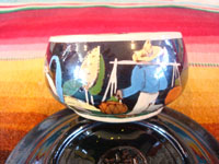 Mexican vintage pottery and ceramics, a set of 4 pottery cups and saucers, with a lovely blackware glazing and astounding artwork, San Pedro Tlaquepaque, Jalisco, c. 1930's. A closeup photo of the artwork on another of the cups from Tlaquepaque depicting a rural Mexican scene.