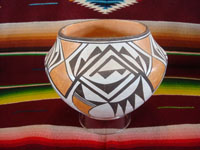 Native American Indian pottery and ceramics, a beautiful pottery bowl from Acoma Pueblo, signed on the bottom by the famous Acoma potter, Lucy M. Lewis, Acoma, New Mexico, c. 1940's.  Main photo of the Acoma pot by Lucy M. Lewis.