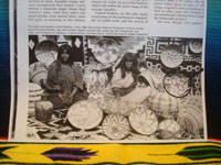Native American Indian antique baskets, and Apache antique baskets, a wonderful Apache basket with lovely squash blossom design elements, Arizona, c. 1890.  The page from Arizona Highways Magaine showing the basket.