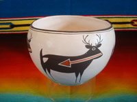 Native American Indian vintage pottery and ceramics, a very beautiful pottery bowl with four lovely deer with heart-lines, signed Emma Lewis, Acoma, c. 1950's.  Main photo of the Acoma pot.