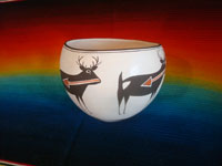Native American Indian vintage pottery and ceramics, a very beautiful pottery bowl with four lovely deer with heart-lines, signed Emma Lewis, Acoma, c. 1950's.  Another side view of the pot showing the lovely deer.