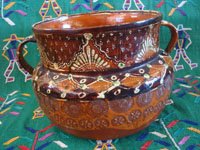 Mexican vintage pottery and ceramics, a wonderful banderaware utilitarian bean pot, with wonderful decorations and stamping, Tonala or San Pedro Tlaquepaque, c. 1930's. Main photo of the pot.