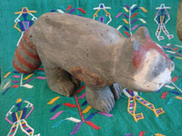 Mexican vintage folk art, and Mexican vintage woodcarvings and masks, a Tarahumara wood-carved racoon or badger, with wonderful subtle colors and form, and primitive appearance, Sonora, c. 1960's. Main photo of the carving.