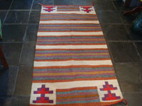 Native American Indian vintage textiles, and Navajo vintage textiles, rugs, and blankets, a beautiful Navajo woven-wool double saddle blanket, with beautiful colors and designs, Arizona or New Mexico, c. 1960's. Main photo of the Navajo saddle blanket.