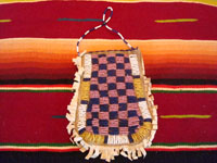 Native American Indian antique beadwork and folk art, a beautifully beaded Apache pouch (ration-ticket pouch), c. 1890. The ration pouch features two American flags on one side, and a wonderful checkerboard pattern on the other. A photo showing the beaded checkerboard pattern on the other side of the pouch.