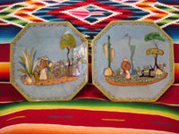 Mexican vintage pottery and ceramics, a pair of octagonal plates with a blue background and lovely rural scenes, Tlaquepaque, Jalisco, c. 1930's. The scenes show Mexican campesinos with their burros, amidst a beautiful rural landscape with plants and cacti. Main photo of the plates.