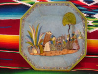 Mexican vintage pottery and ceramics, a pair of octagonal plates with a blue background and lovely rural scenes, Tlaquepaque, Jalisco, c. 1930's. The scenes show Mexican campesinos with their burros, amidst a beautiful rural landscape with plants and cacti. Photo of one of the pair of plates.