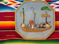 Mexican vintage pottery and ceramics, a pair of octagonal plates with a blue background and lovely rural scenes, Tlaquepaque, Jalisco, c. 1930's. The scenes show Mexican campesinos with their burros, amidst a beautiful rural landscape with plants and cacti. Photo of the second of the pair.