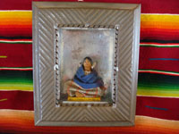 Mexican vintage folk art and tin-art, a beautiful tinwork art nicho with a beautiful wax figure of a little girl, c. 1930. The wax figure is signed on the front of the base by the famous artist Luis Hidalgo and is dated 1931. Main photo of nicho and wax figure.