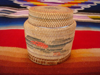 Native American Indian antique basket, a finely woven Northwest Coast basket, woven around a Pond's Cold Cream Jar and lid, Nootka or Makah Indians, c. 1920's. Main photo of the Nootka or Makah Indian Basket.