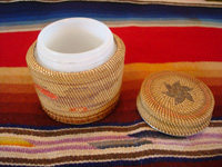 Native American Indian antique basket, a finely woven Northwest Coast basket, woven around a Pond's Cold Cream Jar and lid, Nootka or Makah Indians, c. 1920's. Photo showing the inside of the Pond's Cold Cream jar and lid, around which the Northwest Coast Indian basket is woven.
