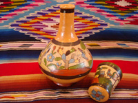 Mexican vintage pottery and ceramics, a wonderful petatillo water-jar and cup with beautiful artwork, Tonala or Talquepaque, Jalisco c. 1930's. Main photo.