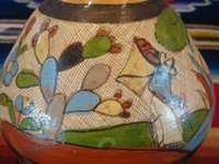 Mexican vintage pottery and ceramics, a wonderful petatillo water-jar and cup with beautiful artwork, Tonala or Talquepaque, Jalisco c. 1930's. Closeup photo of the jar.