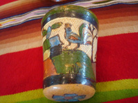 Mexican vintage pottery and ceramics, a wonderful petatillo water-jar and cup with beautiful artwork, Tonala or Talquepaque, Jalisco c. 1930's. Photo of one side of the cup.