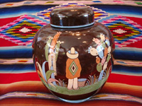 Mexican vintage pottery and ceramics, a large, lidded black-ware tibor, Tlaquepaque, Jalisco, c. 1920's. Main photo of the lidded tibor or jar.