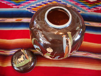 Mexican vintage pottery and ceramics, a large, lidded black-ware tibor, Tlaquepaque, Jalisco, c. 1920's. Photo showing the open tibor and the lid next to it.