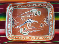 Mexican vintage pottery and ceramics, a bandera-ware rectangular baking dish, with beautiful artwork, c. 1930's. The dish features a graceful bird amidst lovely foliage and flowers. Main photo of the bandera-ware dish.