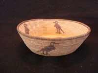 Native American Indian antique basket, a Chemehuevi pictorial basket featuring lovely birds, attributed to basketmaker Mary Smith Hill, Chemehuevi, c. 1920. Side-view of the Chemehuevi Indian basket.