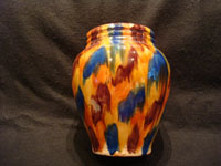 "Mexican vintage pottery and ceramics, a beautiful drip-ware (losa goteada) vase with vibrant colored glazes, Oaxaca, c. 1930's. This style of Oaxacan drip-ware pottery is commonly known as ""Mexican majolica"", and it is extremely beautiful! Main photo of the Oaxaca drip-ware vase."