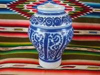 Mexican vintage pottery and ceramics, a beautiful Talavera vase, Puebla, c. 1930's. Main photo of the blue-ware Talavera vase from Puebla.