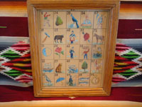 Mexican vintage paintings and fine art, and Mexican vintage folk art, a wonderful hand-painted watercolor and gouche painting of 25 individuals and scenes from the Mexican loteria (lottery), c. 1930.  Main photo of the painting.
