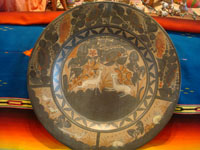 Mexican vintage pottery and ceramics, a very large charger with beautiful and graceful artwork, signed Almado Galvan, Tonala or San Pedro Tlaquepaque, c. 1940's. Main photo of Galvan charger.