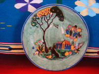 Mexican vintage pottery and ceramics, a beautiful plate with a pale-apple colored background resembling a water-color wash, and with exquisite artwork, attributed to the great Balbino Lucano, Tonala or San Pedro Tlaquepaque, c. 1930's. Main photo of the plate by Balbino Lucano.