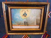 Mexican vintage devotional art, and Mexican vintage tinwork art, a wonderful exvoto painted on tin and in a beautiful wooden frame. c. 1930's. Main photo of the exvoto.