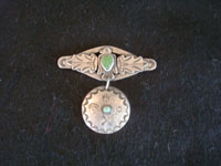 Native American Indian vintage silver jewelry, and Navajo vintage sterling silver jewelry, a beautiful Fred Harvey style silver pendant or broach, with very fine silverwork, Navajo, Arizona, c. 1940.  Main photo of the broach.