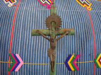 Peruvian vintage devotional art, and Peruvian woodcarvings and masks, a lovely woodcarving depicting the Crucified Christ, Peru, c. 1930's.  Closeup photo of the Cruxified Christ.