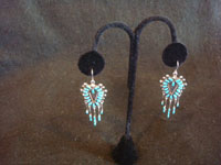 Native American Indian vintage silver jewelry, and Zuni vintage sterling silver jewelry, a lovely pair of dangling silver earrings with lovely turquoise petite point silverwork, Zuni Pueblo, New Mexico, c. 1940's. Main photo of the Zuni earrings.