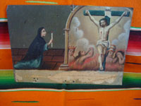 Mexican vintage devotional art, and Mexican vintage tinwork art, a lovely tinwork retablo showing a devout woman praying to the Crucified Chist, c. 1910.