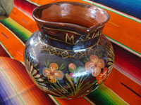 Mexican vintage pottery and ceramics, a lovely pottery pitcher with an almost irridescent glaze and floral decorations, Michoacan, c. 1930's.  Main photo of the pitcher.