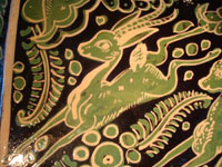 Mexican vintage pottery and ceramics, a rectangular Fantasia dish with wonderful deer, from Tonala or Tlaquepaque, c. 1930. A second closeup photo showing one of the deer on the Fantasia dish.