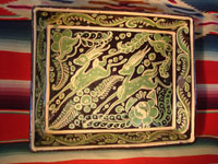 Mexican vintage pottery and ceramics, a rectangular Fantasia dish with wonderful deer, from Tonala or Tlaquepaque, c. 1930. Main photo.