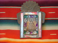 Mexican vintage devotional art, a very old print depicting Our Lady of Juquila, in a very decorative tinwork and glass nicho, c. 1930. Main photo of the retablo of Our Lady.