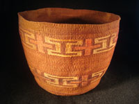 Native American Indian antique Tlingit basket with wonderful geometric bands around the sides, featuring red crosses, c. 1900. Another photo of the Tlingit basket.